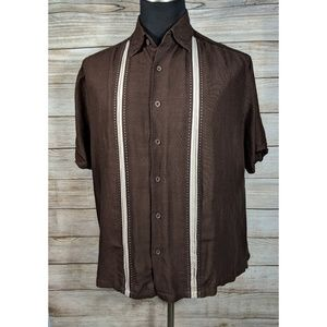 Cubavera Brown Cream Camp Button Cigar Shirt XL